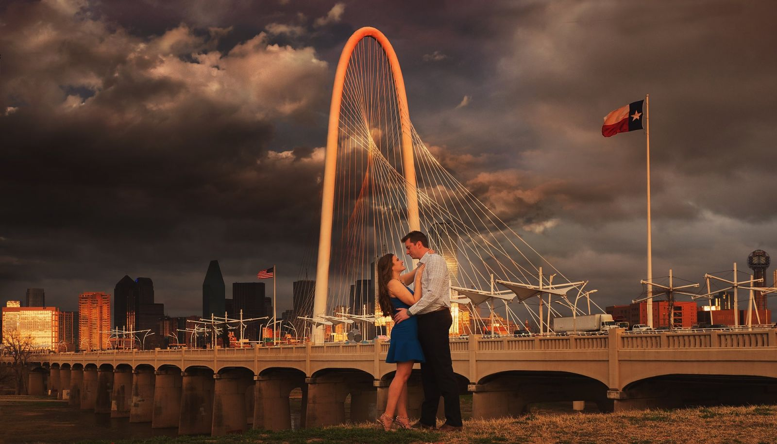 Downtown Dallas Engagement Portrait