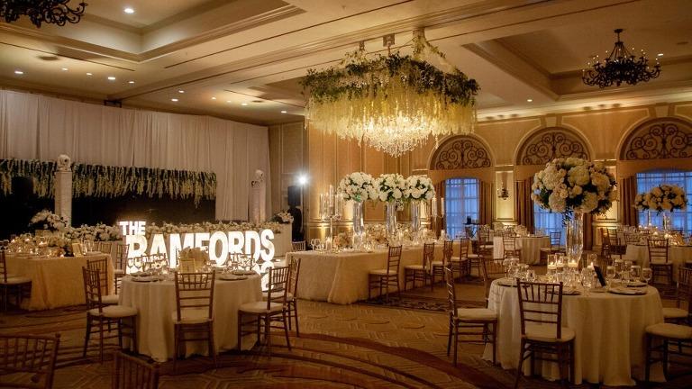 Wedding Reception Ballroom at The Adolphus Hotel showing beautiful uplighting